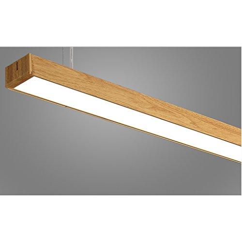 LOFAMI Lámpara colgante Patron de imitación madera Luz de techo 24W LED lámpara de araña de aluminio acrilico para oficina, fábrica, shopping malls,120CM×7CM,sala ( Color :Warm light )