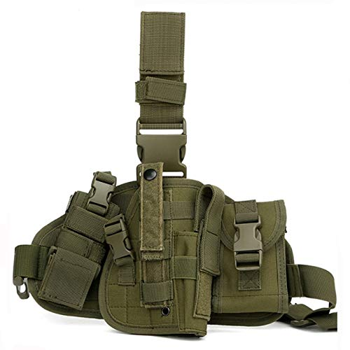 Gexgune Universal verstellbare Militärarmee Tactical Drop Bein Oberschenkel Pistole Holster Plattform Panel mit MOLLE Beutel Jagdbeutel (Grün)