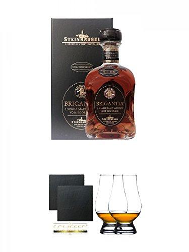 Steinhauser Brigantia Whisky Deutschland 0,7 Liter + Schiefer Glasuntersetzer eckig ca. 9,5 cm Ø 2 Stück + The Glencairn Glass Whisky Glas Stölzle 2 Stück