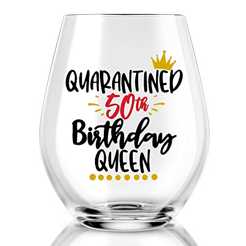 Quarantine 50th Birthday Queen Wine Glass, Funny Queen Wine Glass, 50th birthday wine glass, Social Distancing Gifts for Women, Mom, Wife, Aunt, Grandma, Friends, Sister, Coworkers, Boss, BFF