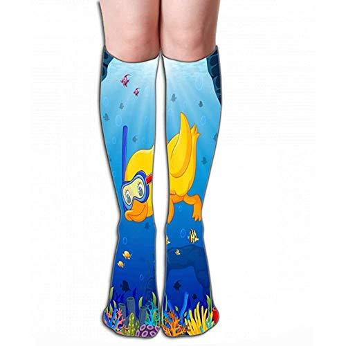 NGMADOIAN mannen vrouwen outdoor sport hoge sokken kous leuke eend snorkelen onderwater zee Inked tegellengte 19,7 'in (50cm)