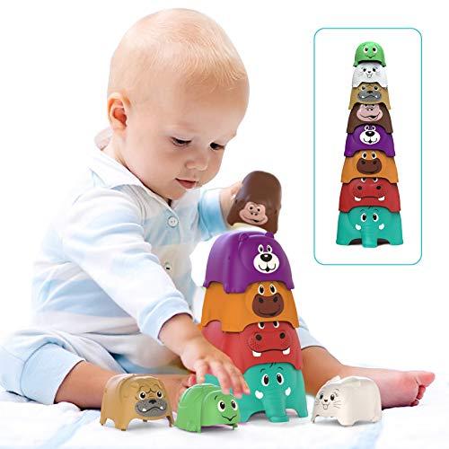 Stapelturm Baby (8er-Pack), Bunt Animal Party Stackers-Spielset, Baby toys, Lernspielzeug & Stapelspiel ab 6 monaten für Jungen Mädchen Kleinkind Kinder
