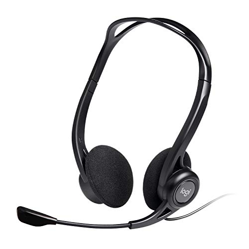 Logitech 960 Wired Headset, Stereo Headphones with Noise-Cancelling Microphone, USB, Lightweight, In-Line Controls, PC/Mac/Laptop - Black