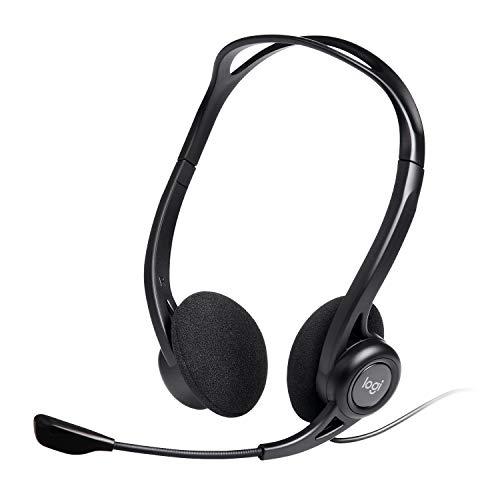 Logitech 960 Kopfhörer mit Mikrofon, Stereo-Headset, Verstellbares Mikrofon mit Rauschunterdrückung, Integrierter Lautstärkeregler und Stummschaltung, USB-Anschluss, 2,4m Kabel, PC/Mac/Laptop, Schwarz