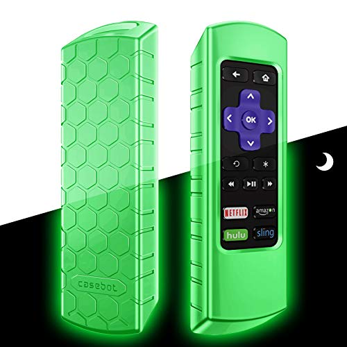 Fintie Protective Case for Roku Express, Roku Premiere RC68 RC69 RC108 RC112 Remote - CaseBot (Honey Comb Series) Light Weight (Anti Slip) Shock Proof Silicone Remote Cover, Green Glow