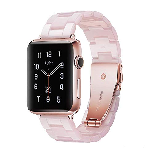 watch with pink bands Light Apple Watch Band - Fashion Resin iWatch Band Bracelet Compatible with Stainless Steel Buckle for Apple Watch Series 6 Series SE Series 5 Series 4 Series 3 Series 2 Series1 (Pink, 38mm/40mm)