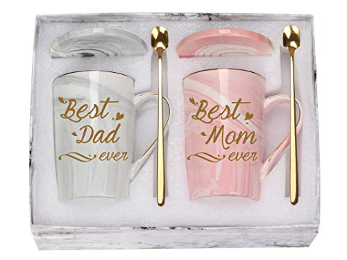 Best Mom and Dad Coffee Mugs Best Dad and Mom Mug Birthday Mothers Day Fathers Day Mugs for Mom Dad from Daughter Son New Parent Mug 14 Ounce Gift Box with Spoon and Mug Mat Pink and Gray