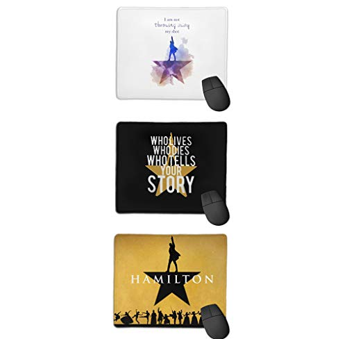 Musical Hamilton Mouse Pad 11.8 X 9.8 in Mouse Mat Gaming Mouse Pad Office Gaming Funny Mousepad(25x30cm) 3Pcs Set