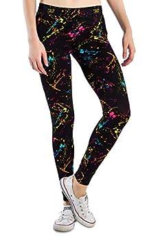 Splatter Neon Leggings - Neon Retro Rainbow Tights for Women  Medium