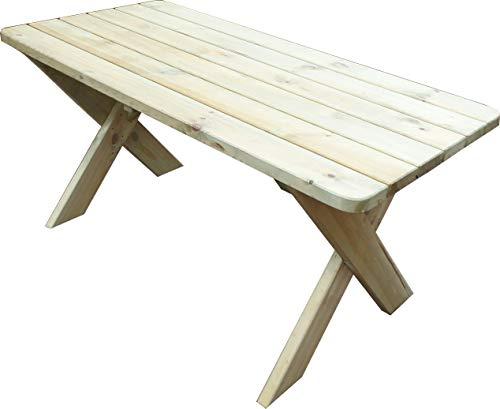 Platan Room Gartenmöbel aus Kiefernholz 120 cm / 150 cm / 180 cm breit Gartenbank Gartentisch Kiefer Holz massiv Imprägniert (Gartentisch, 180 cm)