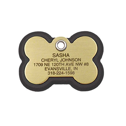 LuckyPet Pet ID Tag, Bone Frame Tag, Rugged Dog Tags with Colorful Frame, Custom Engraved, Small, Black & Brass