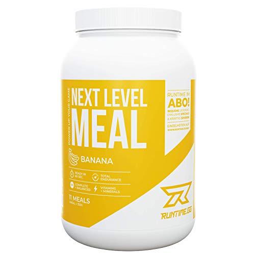 Runtime Next Level Meal Banane - vollwertiger Mahlzeitersatz für langanhaltende Sättigung, Energie, Konzentration und Leistungsfähigkeit, mit Vitaminen und Nährstoffen, 1,65kg - 11 Mahlzeiten