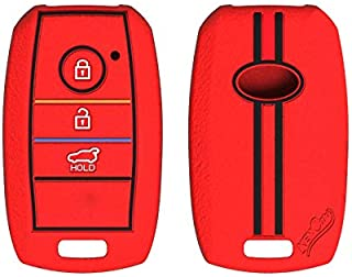 Keycare® Silicone Key Cover for Kia Seltos 3 Button Smart Key (Red)