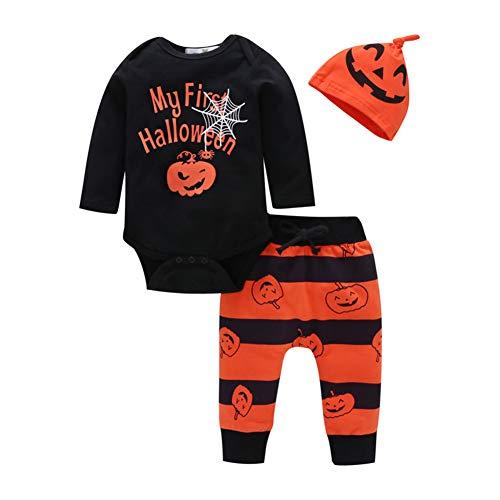 DC CLOUD Ropa Bebe Niño Ropa de bebé de Dibujos Animados Carta Ropa de bebé Mameluco Pantalones Sombrero Ropa de bebé Disfraz de Calabaza Ropa de bebé Black,80/9-12months