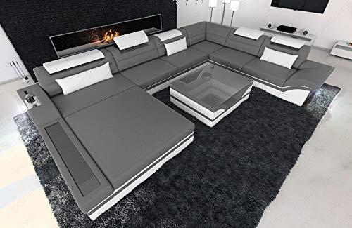 Sofa Dreams Designer Wohnlandschaft Mezzo in der XXL Variante mit LED Licht