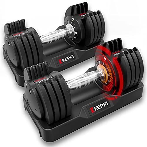 Keppi Adjustable Dumbbells Set-25lb Pair Dumbbells with Anti-Slip Metal Handle for Exercise & Fitness Fast Adjust Weight for Full Body Workout Fitness…
