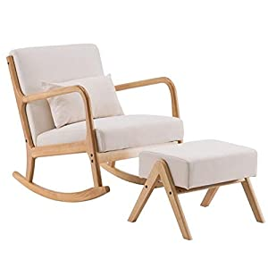 Rocking Chair with Ottoman for Nursery Glider Rocker Fabric Sofa Padded Seat Gaming Footrest Stool Leisure Accent Chair for Living Room Bedroom Beige