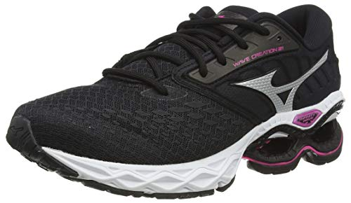 Mizuno Women's Wave Creation 21 Road Running Shoe, Black Phantom Pinkglo, 8.5