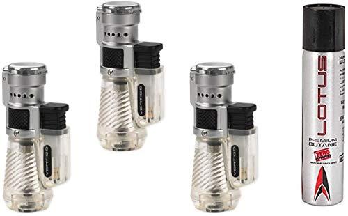 Vertigo by Lotus Cyclone Triple Torch Cigar Lighter Clear 3 Pack Plus 1 Lotus 90ml Butane Can