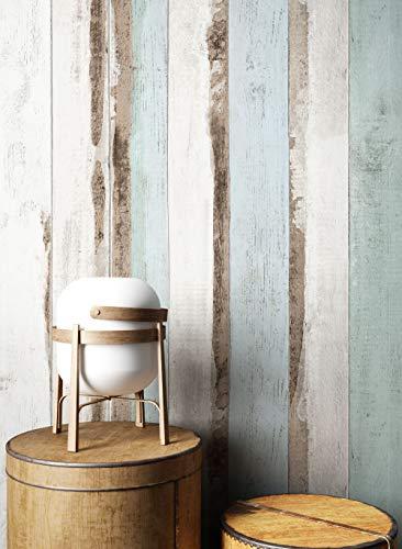 *NEWROOM Holztapete Tapete Blau Holzbalken Holz Landhaus Vliestapete Türkis Vlies Holztapete Holzwand Naturholz Holzpaneele Modern inkl. Tapezier Ratgeber*
