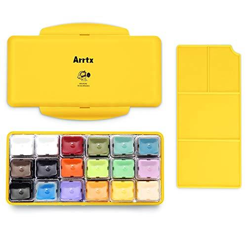 Arrtx Gouache Pintura Set, 18 colores x 30ml Diseño único de taza...