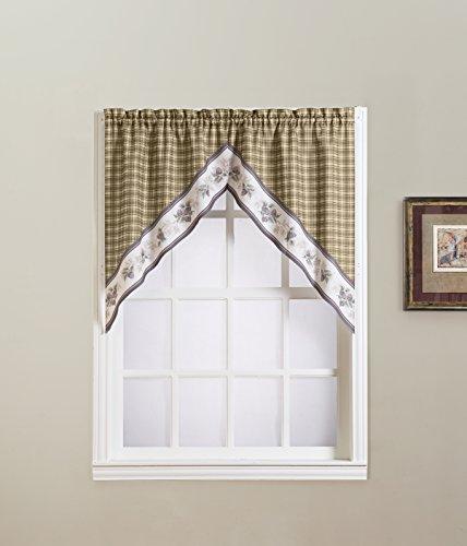 """No. 918 Berkshire Kitchen Curtain Swag Valance, 56"""" x 38"""", Natural Tan"""
