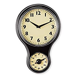 Collections Etc Black Frame Hanging Analog Wall Clock with Timer Features a Vintage Design and Cream-Colored Face