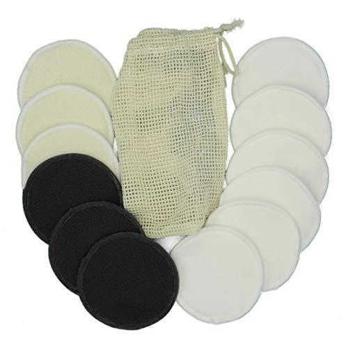 Tampons démaquillants lavables et réutilisables en 100 % bambou et chanvre – Coussinets écologiques pour le visage et les yeux avec sac à linge robuste en fibre de bambou.