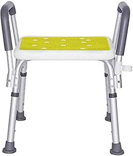 LINGZHIGAN Ligera Taburete de Ducha Silla de Baño con Antideslizante apoyabrazos Regulable en Altura de Aluminio for Las Mujeres de Edad discapacitados 200 Kg Blanco Stock