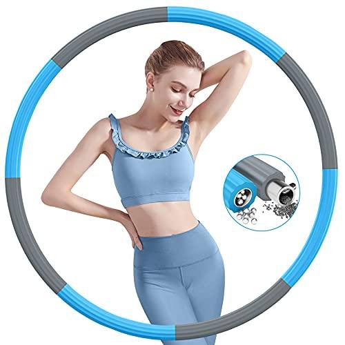 NEEMOSI Aro para adultos para fitness, con núcleo de acero inoxidable mejorado con espuma gruesa, aro desmontable para adelgazar el abdomen, 1,2 kg (gris y azul)