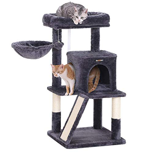 FEANDREA Cat Tree with Sisal-Covered Scratching Posts (Smoky Grey)