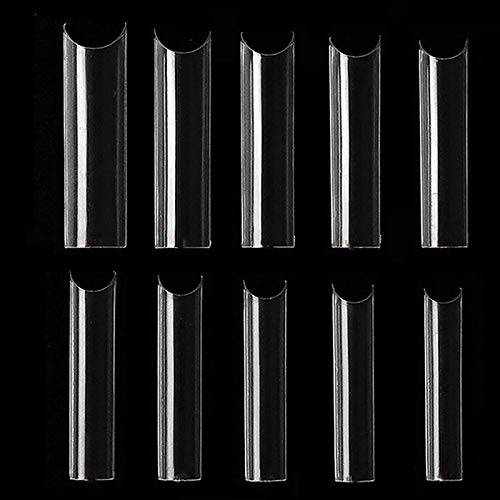 500PCS Extra Long C Curve Half Cover Nail Tips, Extra Long C Curve Tapered Square False Tips Cover Half Nail, False Nails Straight Square Tips for Home DIY Nail Art Transparent