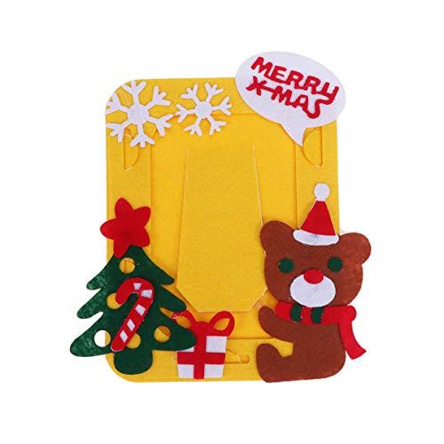 Heallily Kit de Fieltro Artesanal de Navidad para niños Marco de Navidad Marco de Fotos para niños para...