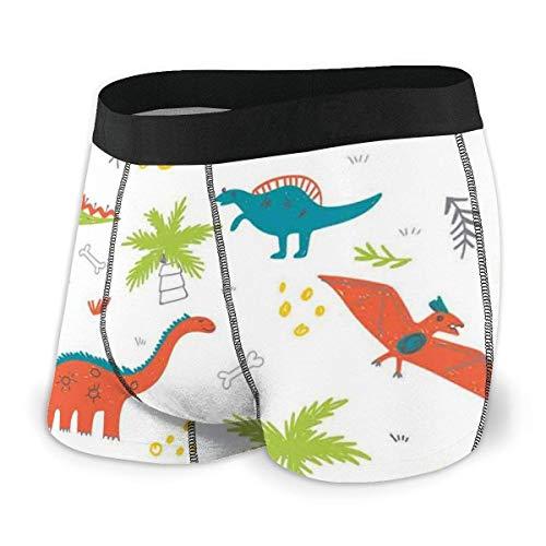Web--ster Calzoncillos bóxer para Hombres, Garabato de Naturaleza prehistórica con Dinosaurios, Palmeras volcánicas Dibujadas a Mano.