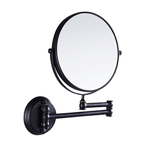 MagiDeal Kosmetik-Wandspiegel Teleskop- Schminkspiegel Vergrößerungsspiegel Rasierspiegel für Badezimmer - Bad-Spiegel - Schwarz, 20cm