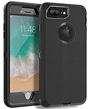 MXX iPhone 8 Plus Heavy Duty Protective Case with Screen Protector [3 Layers] Rugged Rubber Shockproof Protection Cover for Apple iPhone 7 Plus - iPhone 8 Plus/Apple Phone 8+  Black