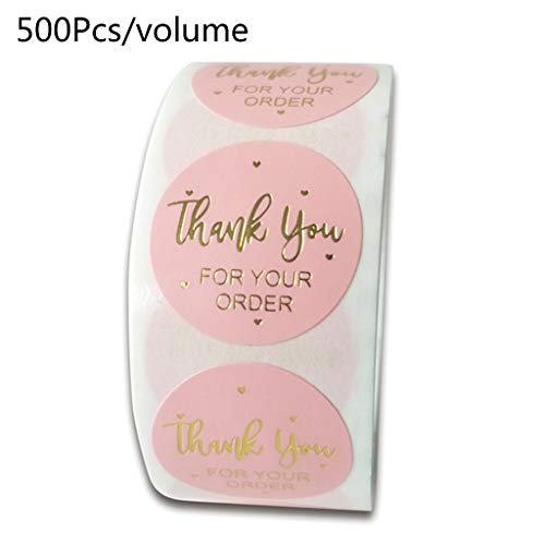 niumanery 500pcs Thank You for Your Order Stickers with Gold Foil Round Seal Label Handmae