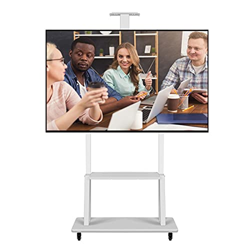 ERLAN Soporte TV Móvil Soporte Universal para TV para Televisores LCD LED de 32-70 Pulgadas, Blanco Acero Carrito/Soporte de TV con Ruedas y Estante para Cámara Bandeja para Portátil