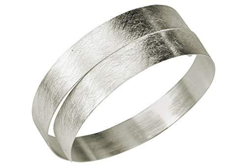 SILBERMOOS Damen Armreif Armspange schmal offen gewickelt flexibel gebürstet Spirale 925 Sterling Silber