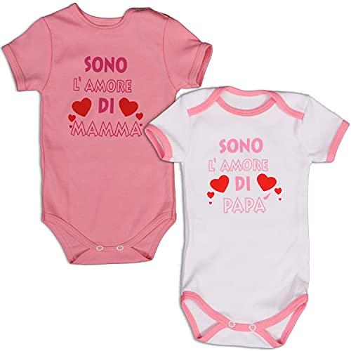 Repanda Body Neonato Divertenti - 2 Dolci Idee Regalo: Sono l'amore di Mamma e Papà - 100% Cotone - Body Manica Corta (Rosa e Bianco, 0-3 mesi)
