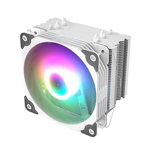 Vetroo V5 White CPU Air Cooler w/ 5 Heat Pipes 120mm PWM Processor 150W TDP Fan Intel LGA 1200 115X / AMD Ryzen AM4 Universal Socket w/Addressable RGB Lights Sync