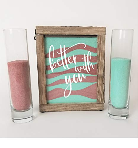 Streamside Shoppe Rustic Unity Sand Ceremony Set Better with You in White Rustic Shadow Box for Wedding, Vow Renewal, Unity Sand Ceremony Set, Beach Wedding Decor, Unity Candle Alternative