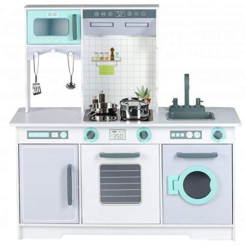 Eco Toys Cocina de madera + accesorios de cocina para niños, cocina de juguete, cocina de juguete de madera