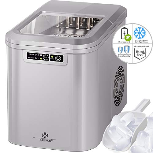Kesser® Eiswürfelbereiter | Eiswürfelmaschine Edelstahl | Ice Maker | 12 kg 24 h | Zubereitung in 7 min | 2,2 Liter Wassertank | 2 Eiswürfel-Größen | LED-Display | Selbstreinigungsfunktion |