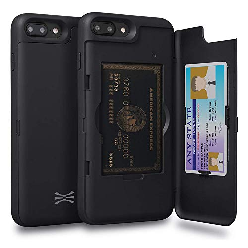 TORU CX PRO Compatible with iPhone 8 Plus/iPhone 7 Plus Wallet Case - Protective Dual Layer with Hidden Card Holder, ID Slot Hard Cover & Mirror - Matte Black
