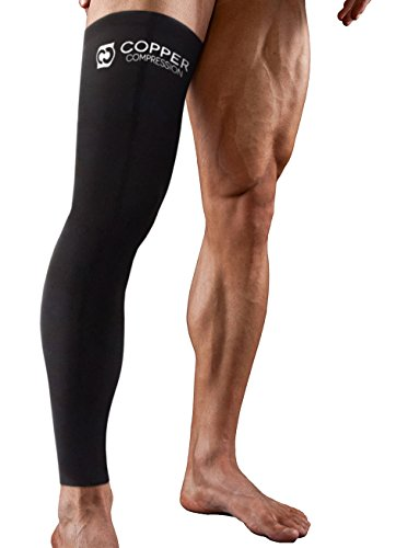 Copper Compression Full Leg Sleeve - Guaranteed Highest Copper Sleeves + Pants. Single Leg Pant Tights Fit for Men and Women. Copper Knee Brace Thigh Calf Support Socks. Basketball, Arthritis -2XL