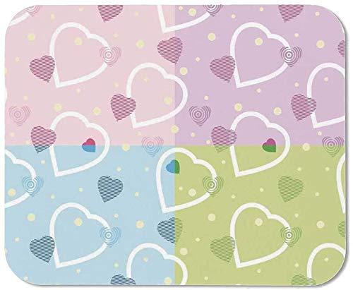Valentine Wristband Mouse Pad, motivos de corazón grande y pequeño sobre fondo colorido con puntos Cute Romance Love Theme para escritorio de la casa Escritorio de la computadora, 15 '' W X35 '' L X0.