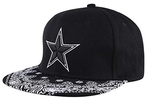 Gorra de béisbol de ZLYC, ajustable, unisex, con palabra bordada, visera plana floral - Negro -