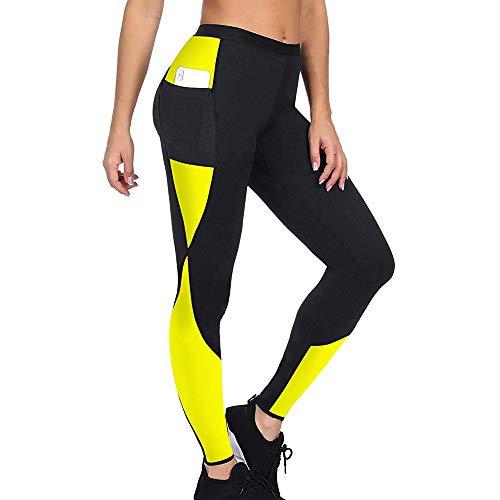 OEAK Damen Lang Neopren Leggings Schwitzhose Fitnesshose Sauna Anzüge Yoga Abnehmen Body Shaper Lang oder Capri Hosen