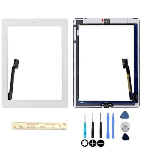 Hedywei Pantalla Táctil Digitalizador con botón Home para iPad 4 Adhesivo + Herramientas Blanco